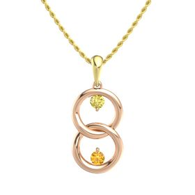 18K Rose Gold Pendant with Yellow Sapphire and Citrine