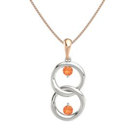 18K White Gold Pendant with Fire Opal