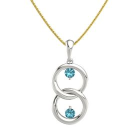 18K White Gold Pendant with London Blue Topaz