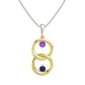 18K Yellow Gold Pendant with Amethyst and Blue Sapphire