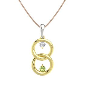 18K Yellow Gold Pendant with White Sapphire and Peridot