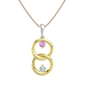 18K Yellow Gold Pendant with Pink Sapphire and Diamond