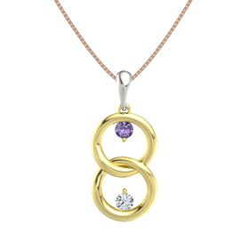 18K Yellow Gold Pendant with Iolite and Diamond