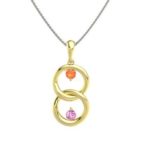 18K Yellow Gold Pendant with Fire Opal and Pink Sapphire