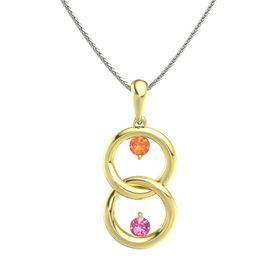 18K Yellow Gold Pendant with Fire Opal and Pink Tourmaline