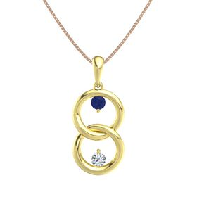 18K Yellow Gold Pendant with Blue Sapphire and Diamond