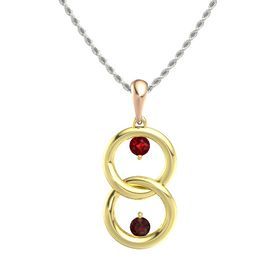 18K Yellow Gold Pendant with Ruby and Red Garnet