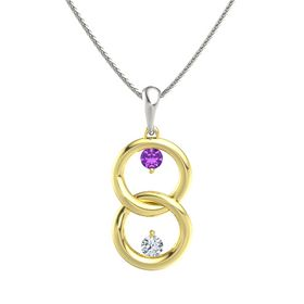 18K Yellow Gold Pendant with Amethyst and Diamond