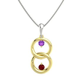 18K Yellow Gold Pendant with Amethyst and Ruby