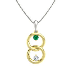 18K Yellow Gold Pendant with Emerald and Diamond