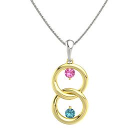 18K Yellow Gold Pendant with Pink Tourmaline and London Blue Topaz