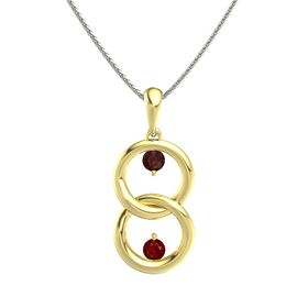 18K Yellow Gold Pendant with Red Garnet and Ruby