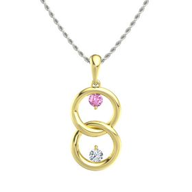 18K Yellow Gold Necklace with Pink Sapphire & Diamond