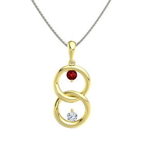 18K Yellow Gold Necklace with Ruby & Diamond