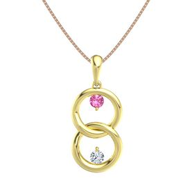 18K Yellow Gold Pendant with Pink Tourmaline and Diamond