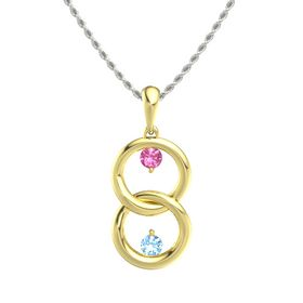 18K Yellow Gold Necklace with Pink Tourmaline & Blue Topaz