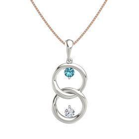 Platinum Pendant with London Blue Topaz and Diamond