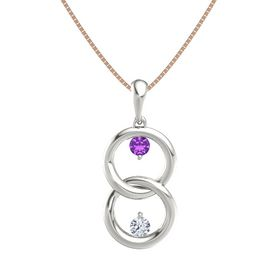 Platinum Pendant with Amethyst and Diamond
