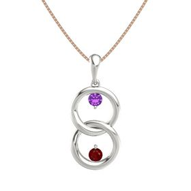 Platinum Pendant with Amethyst and Ruby