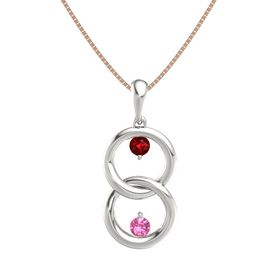 Platinum Pendant with Ruby and Pink Tourmaline