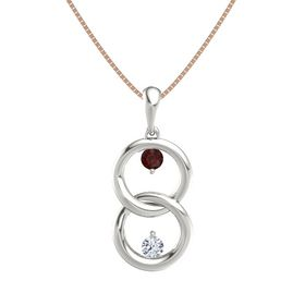 Platinum Pendant with Red Garnet and Diamond