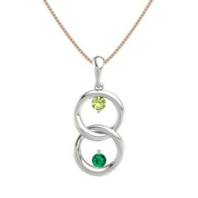 Platinum Pendant with Peridot and Emerald