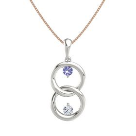 Platinum Pendant with Tanzanite and Diamond