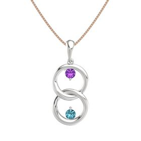 Sterling Silver Pendant with Amethyst and London Blue Topaz