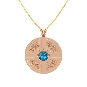 Round London Blue Topaz 14K Rose Gold Pendant
