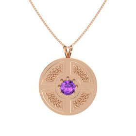 Round Amethyst 14K Rose Gold Necklace