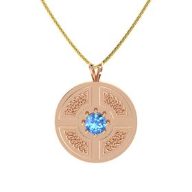 Round Blue Topaz 14K Rose Gold Necklace
