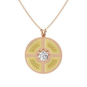 Round White Sapphire 14K Rose Gold Pendant
