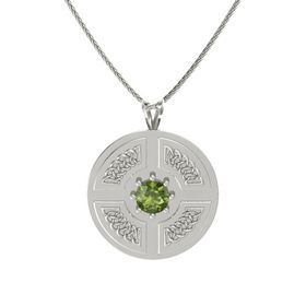 Round Green Tourmaline 14K White Gold Pendant