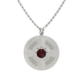 Round Red Garnet 14K White Gold Pendant