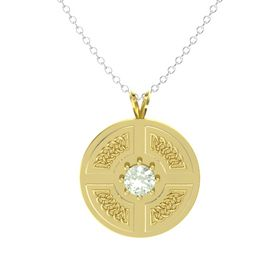 Round Green Amethyst 14K Yellow Gold Pendant