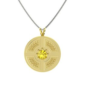 Round Yellow Sapphire 14K Yellow Gold Necklace