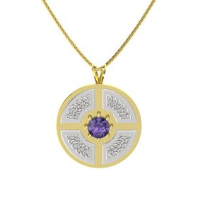Round Iolite 14K Yellow Gold Necklace