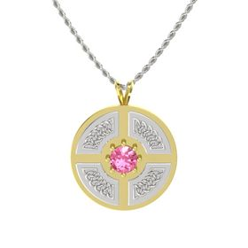 Round Pink Tourmaline 14K Yellow Gold Pendant