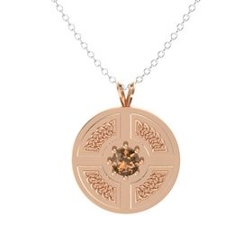 Round Smoky Quartz 18K Rose Gold Pendant