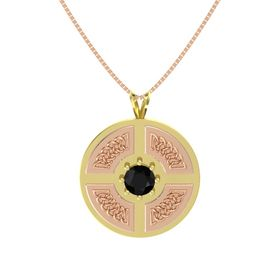 Round Black Onyx 18K Yellow Gold Pendant