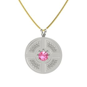 Round Pink Tourmaline Platinum Necklace