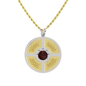 Round Red Garnet Sterling Silver Necklace