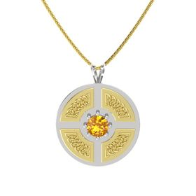 Round Citrine Sterling Silver Pendant