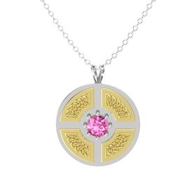 Round Pink Sapphire Sterling Silver Pendant