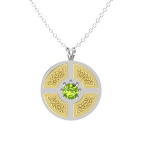 Round Peridot Sterling Silver Necklace