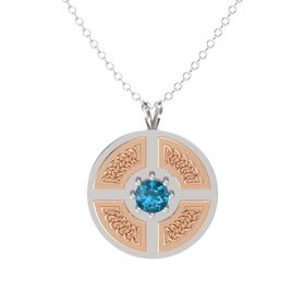 Round London Blue Topaz Sterling Silver Pendant