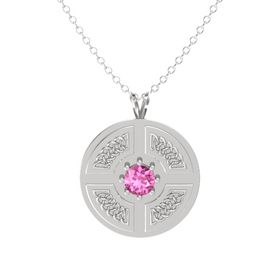 Round Pink Sapphire Sterling Silver Necklace