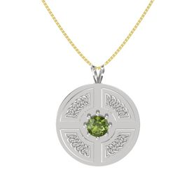 Round Green Tourmaline Sterling Silver Pendant