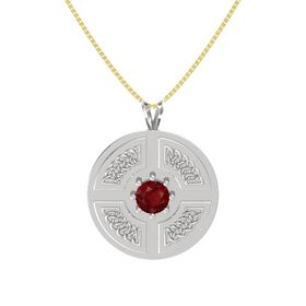 Round Ruby Sterling Silver Pendant