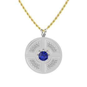 Round Blue Sapphire Sterling Silver Pendant
